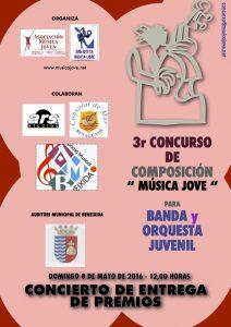 Cartel del concierto y entrega de premios de composición de música joven de Benimaclet.