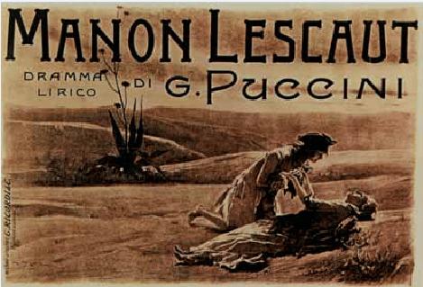 Portada de la partitura impresa de Manon Lescaut.