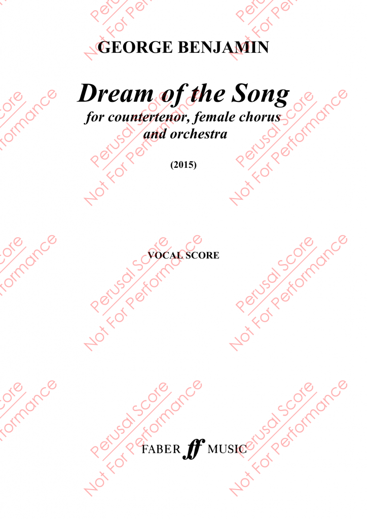 Partitura de Dream of the Song de George Benjamin.