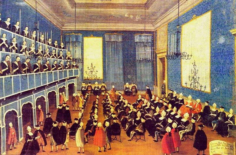 Ilustración del Ospedale della Pietà en tiempos de Vivaldi.