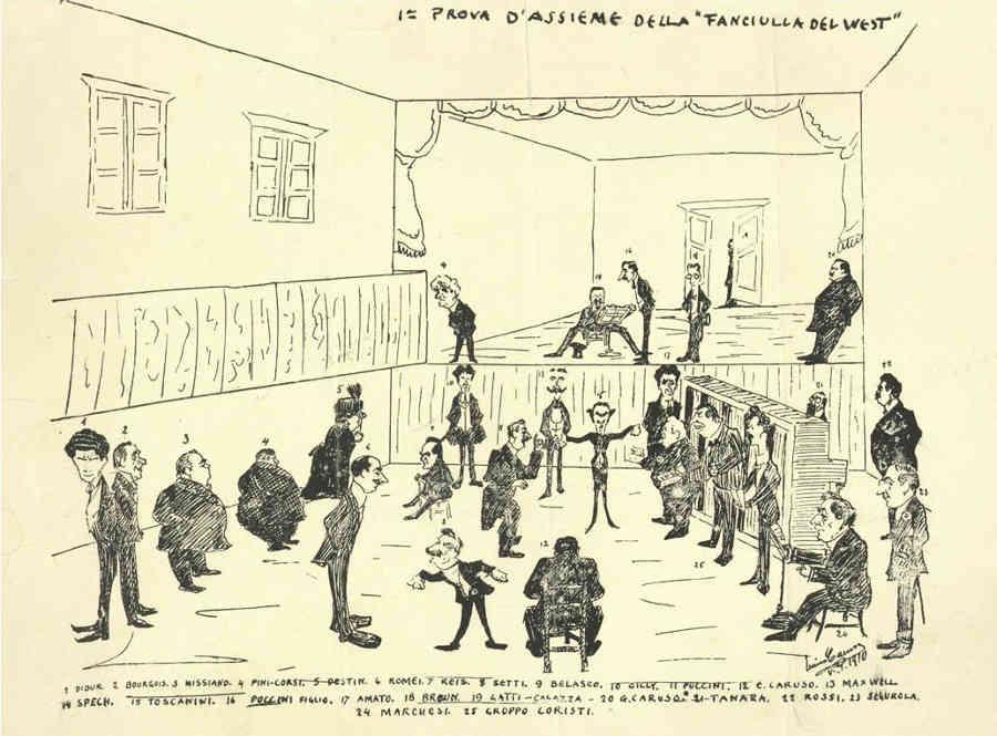 Caricatura de La fanciulla del West, por Enrico Caruso