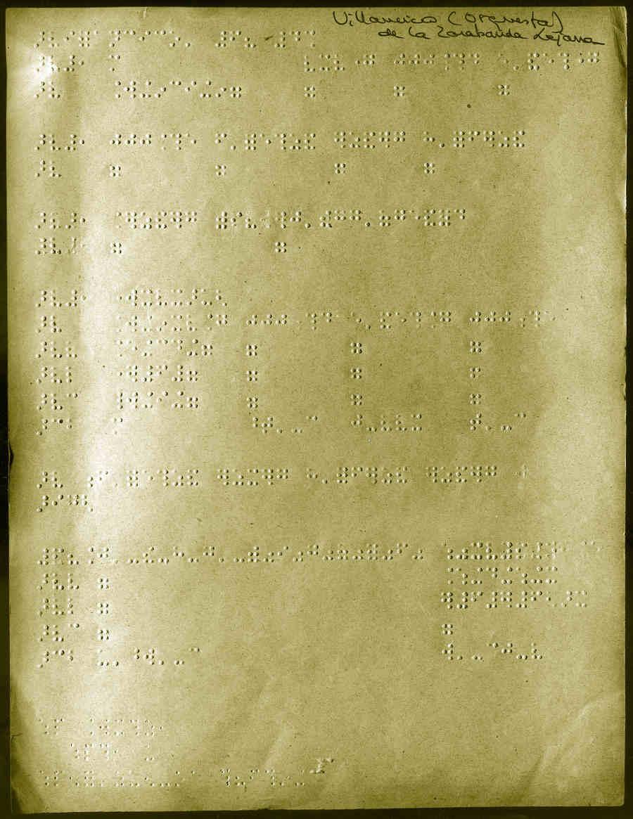 Manuscrito en braille de la obra Zarabanda lejana y villancico, 1926