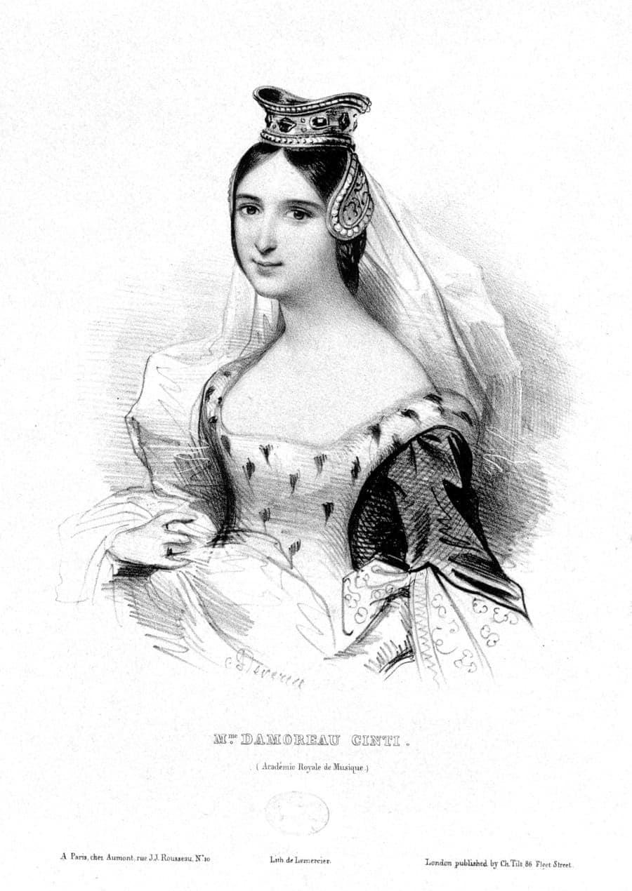 Laure Cinti-Damoreau, litografía de Achille Devéria
