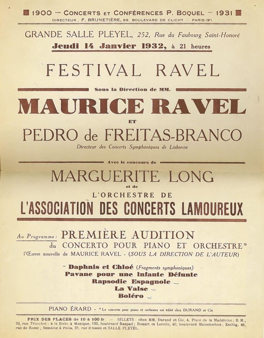 Afiche de la primera audición del Concierto en Sol de Ravel