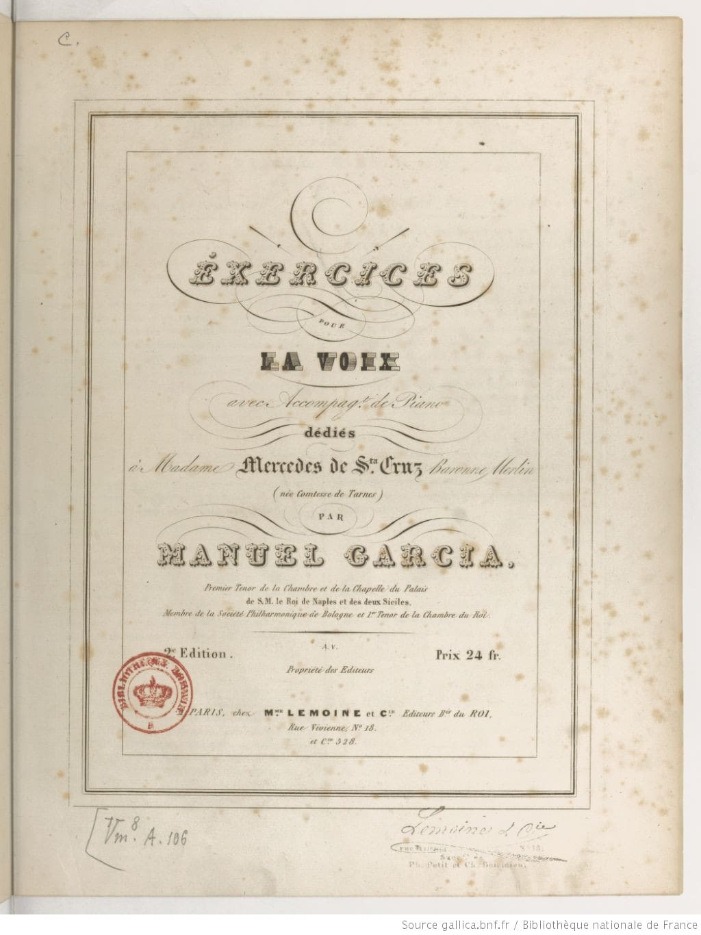 Exercices pour la Voix de Manuel García Enseñanza de Canto