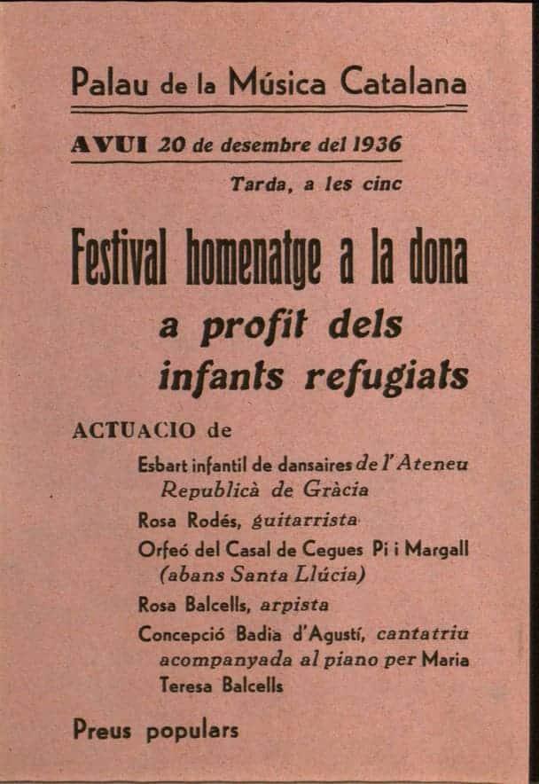 Anuncio de un concierto en el Palau de la Música Catalana el 20 de diciembre de 1936 con la guitarrista Rosa Rodés
