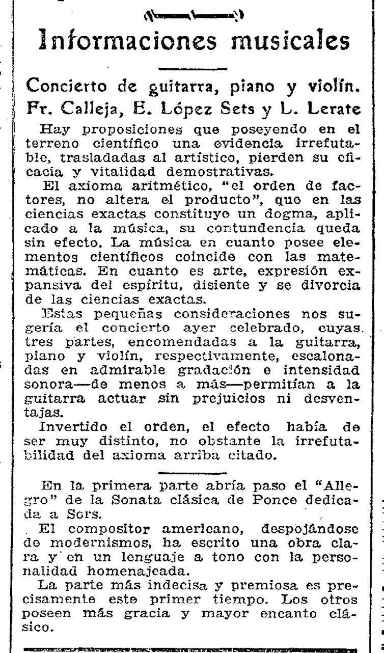 Reseña de un concierto de Francisco Calleja publicada en ABC Sevilla del 25 de mayo de 1937