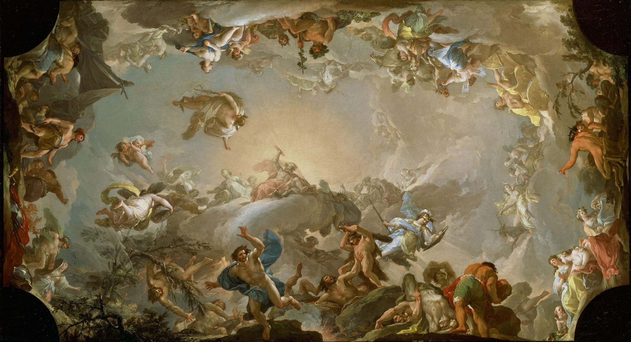 Júpiter derrotando a los gigantes con la ayuda de Hércules y Minerva, de Francisco Bayeu © Museo Nacional del Prado
