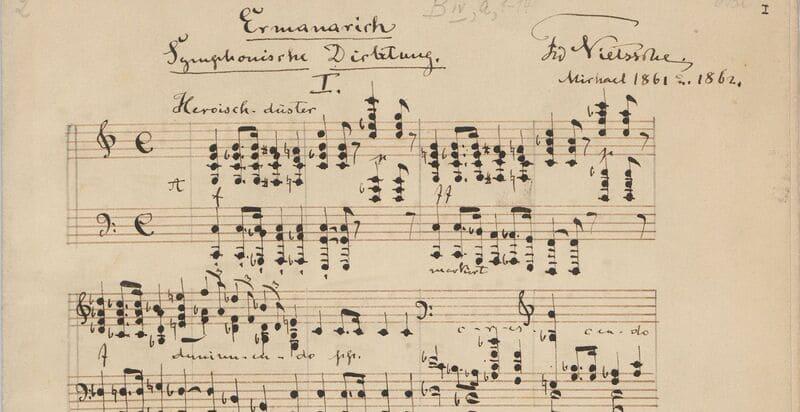 Manuscrito de Das zerbrochene Ringlein, melodrama para voz hablada y piano, texto de Joseph von Eichendorff (1788-1857) Friedrich Nietzsche