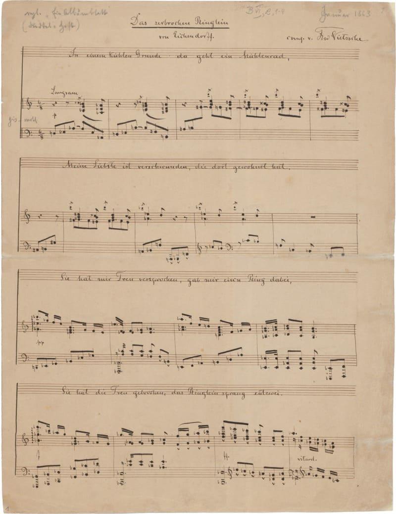 Manuscrito de Ermanarich, versión para piano a dos manos Friedrich Nietzsche