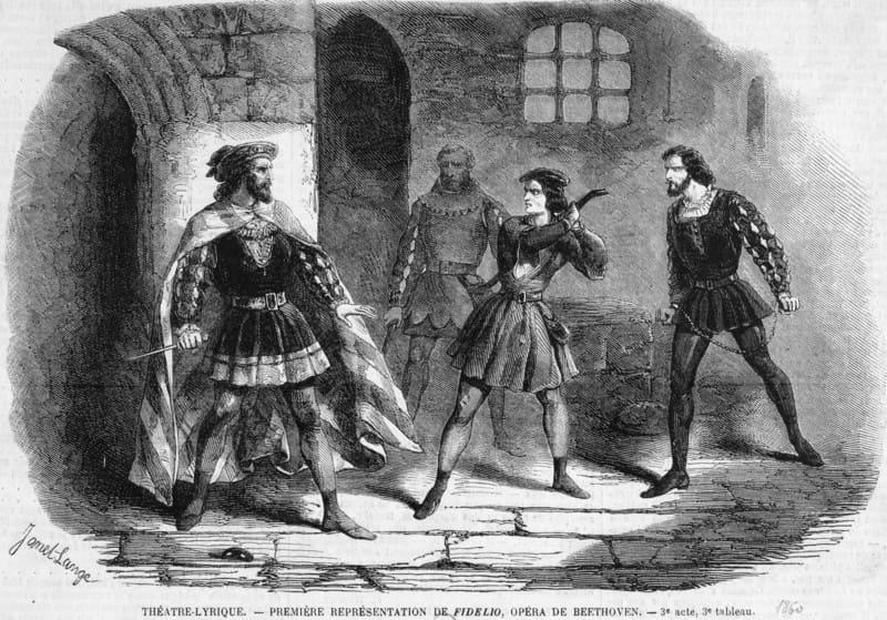 Acto 3 de Fidelio en el Théâtre Lyrique de París, 1860.