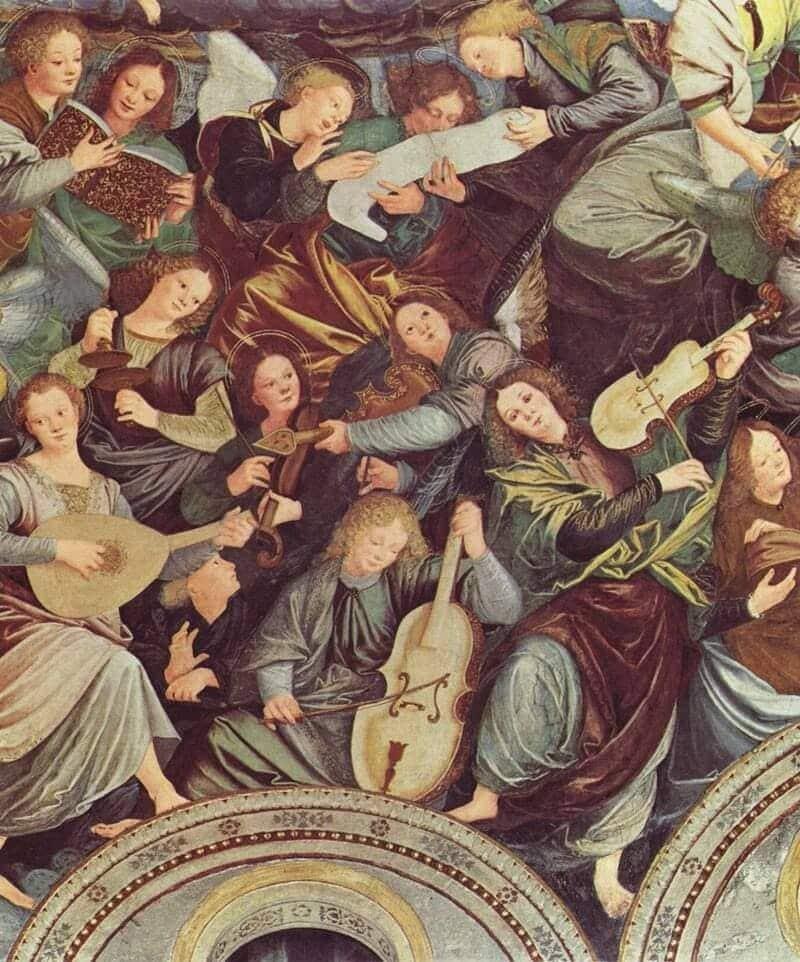 Detalle del fresco Concierto de los Ángeles, de Gaudenzio Ferrari.
