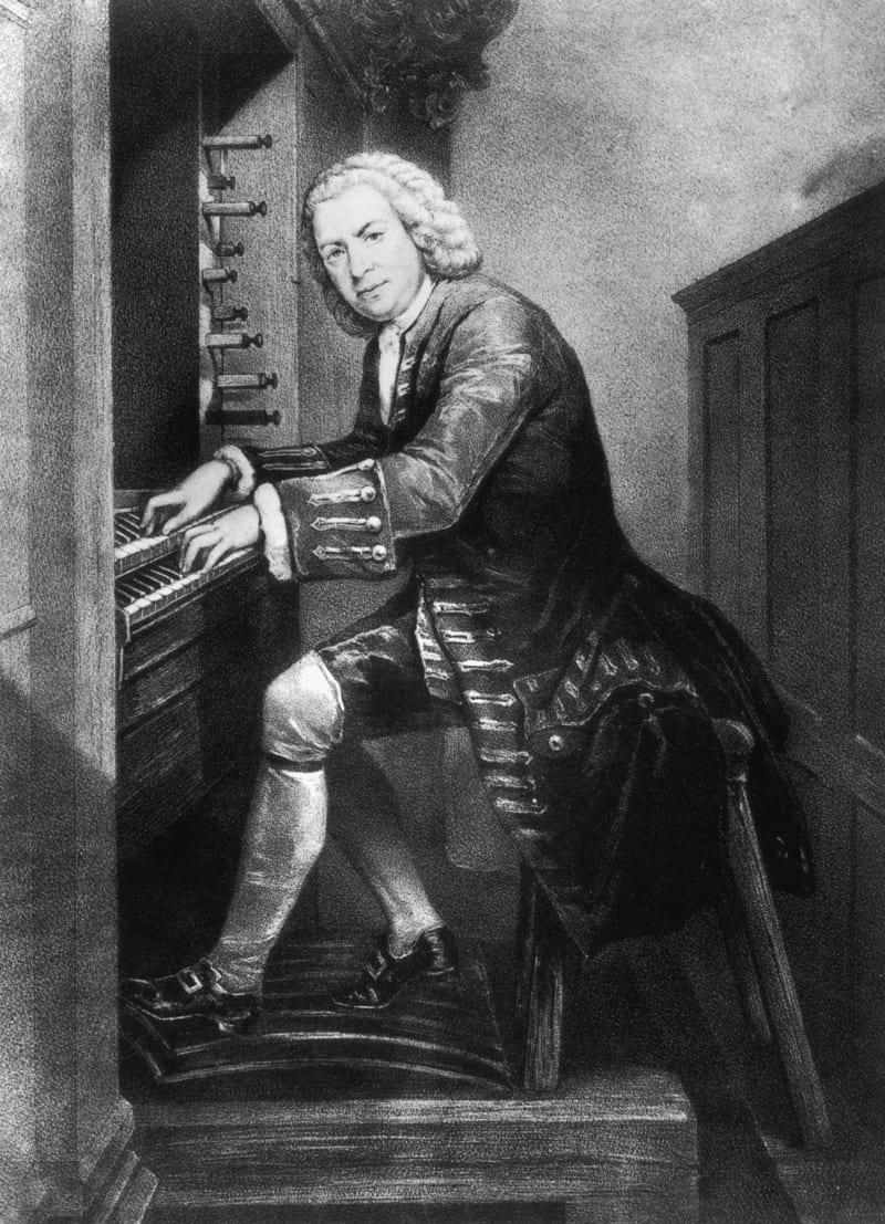 1 Johann Sebastian Bach sentado al órgano en 1725 © British Museum