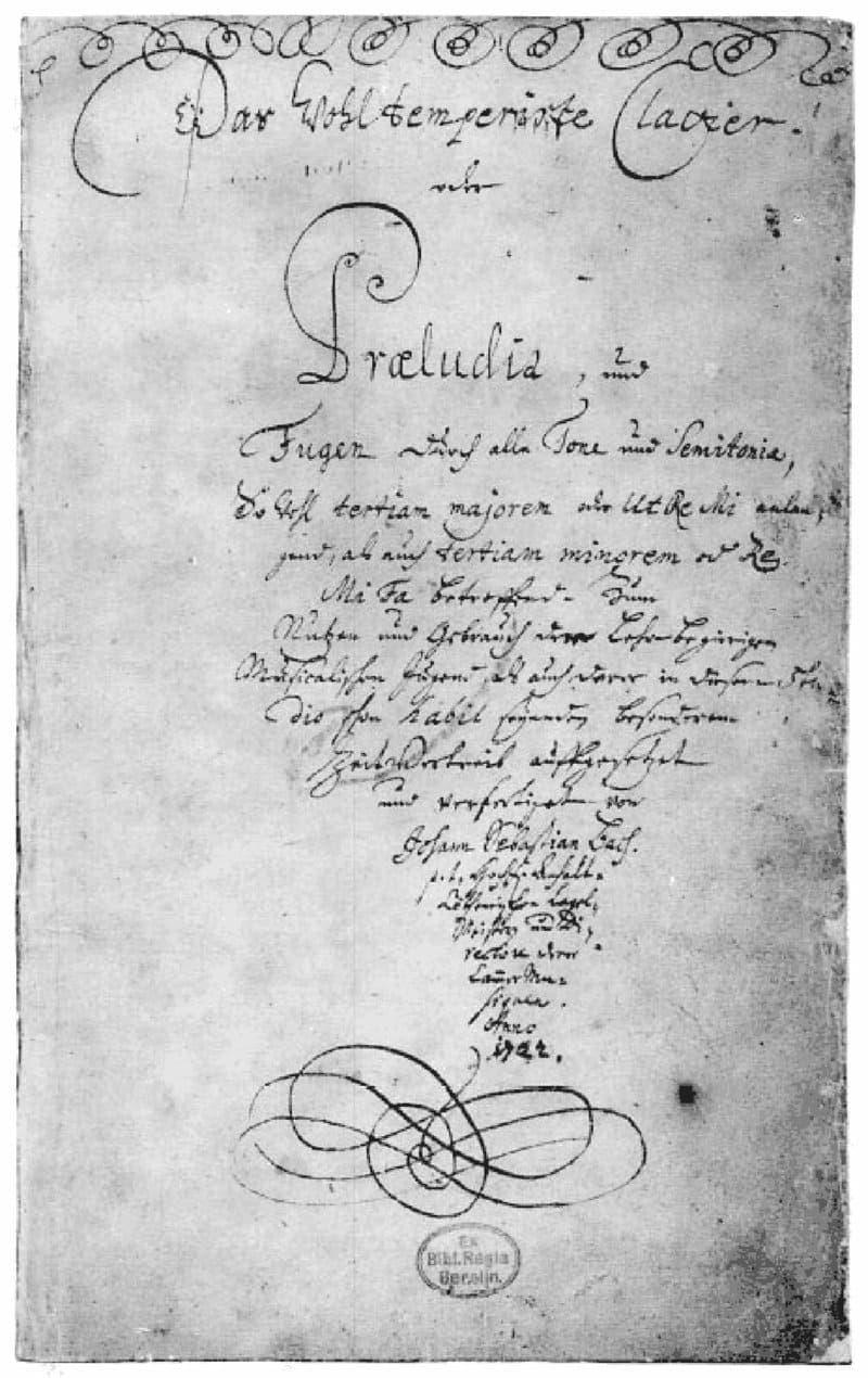 Portada del manuscrito original de El Clave Bien Temperado