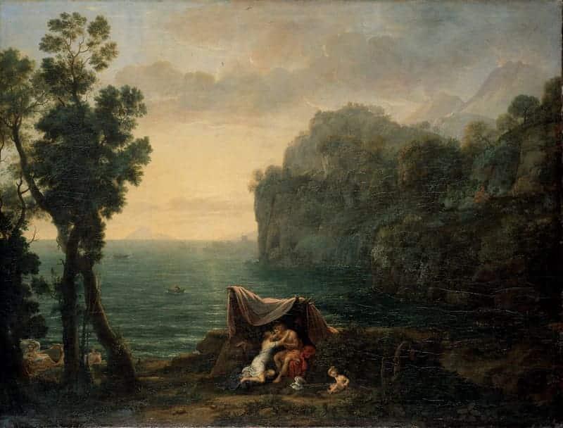 Paisaje costero con Acis y Galatea, Claude Lorrain (1657)