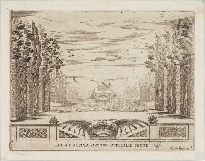 Segundo cambio de escena de La liberazione di Ruggiero dall'isola d'Alcira, dibujo de Alfonso Parigi