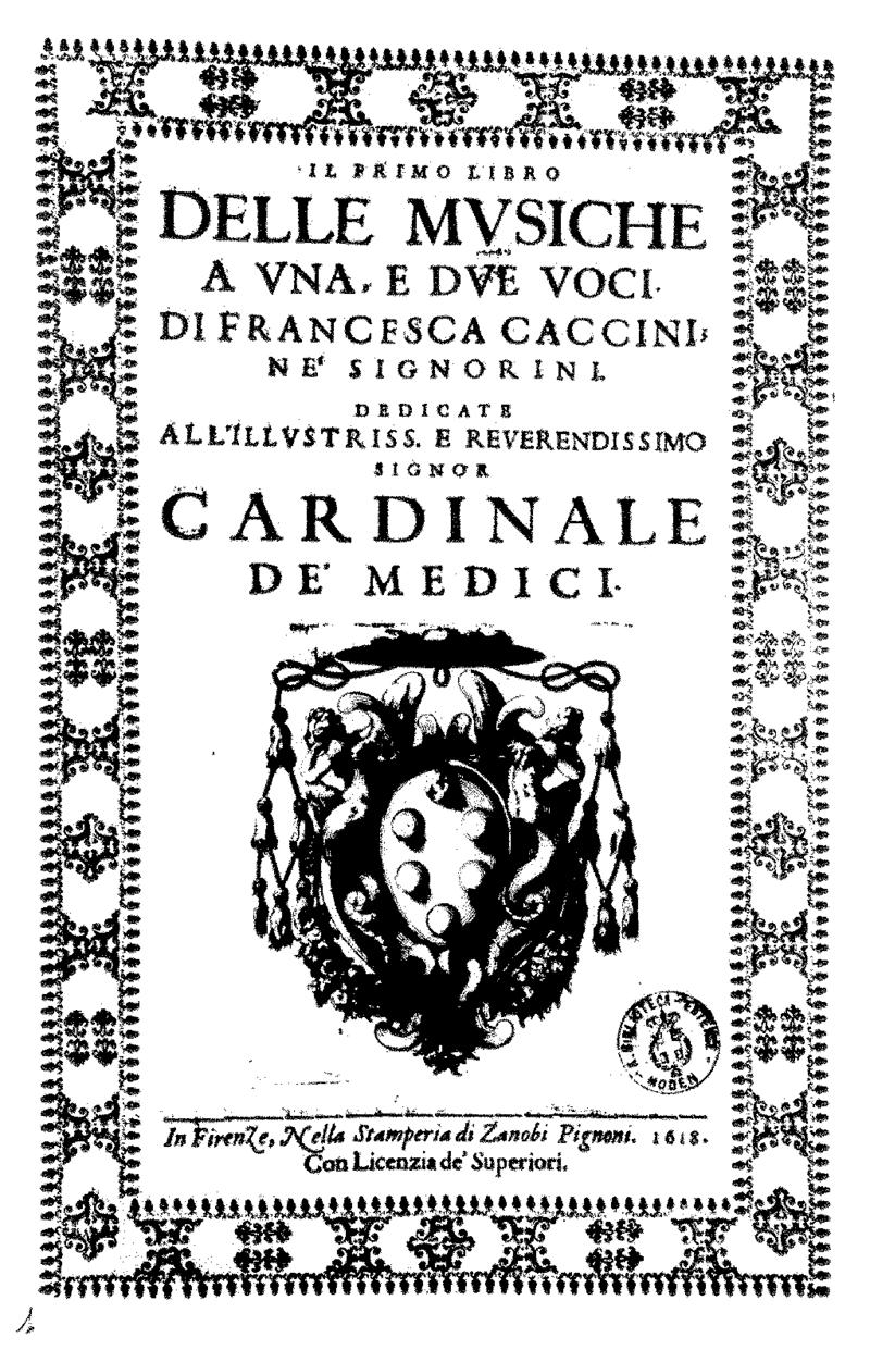 Primera página de Il primo libro delle musiche