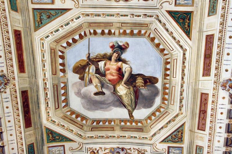 Frescos de Matteo Roselli presentes en la Sala de Audiencias de María Magdalena, Villa del Poggio Imperiale (Florencia)