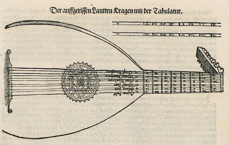 Detalle de una tablatura de laúd en Alemania que contiene el Mille regretz y fue, quizá, usada por Lutero. Tabulatur auf die Laudten de Hans Gerle, 1533