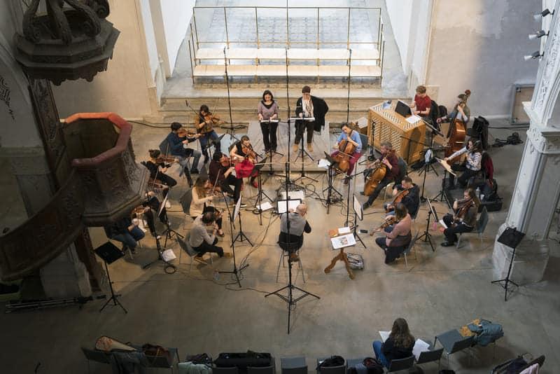 Musique des Lumières y Facundo Agudín durante una grabación con IBS Classical en Le Noirmont (Suiza), junto a Sara Mingardo y Bénédicte Tauran © Sabine Burger