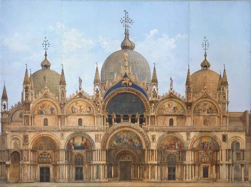Alzado de la fachada de la Basílica de San Marcos (Venecia), por Alberto Prosdocimi (1881) Edward Elgar