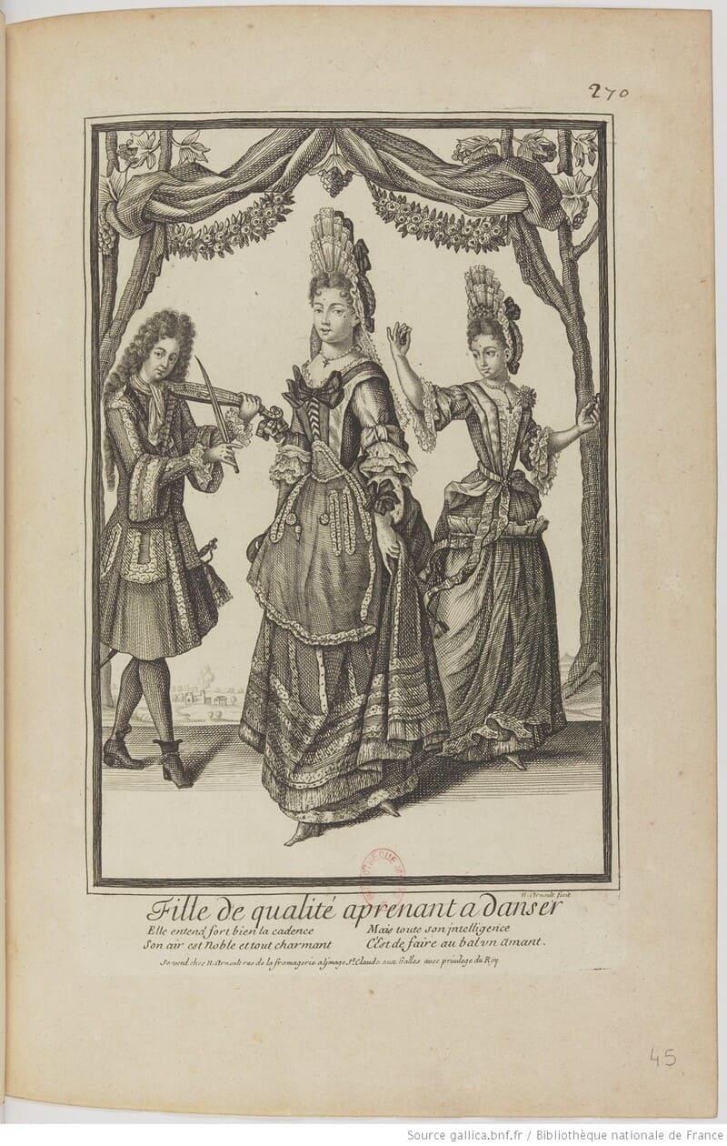 Arnould, 'Fille de qualité aprenant à danser'. Danzas para dos reinas