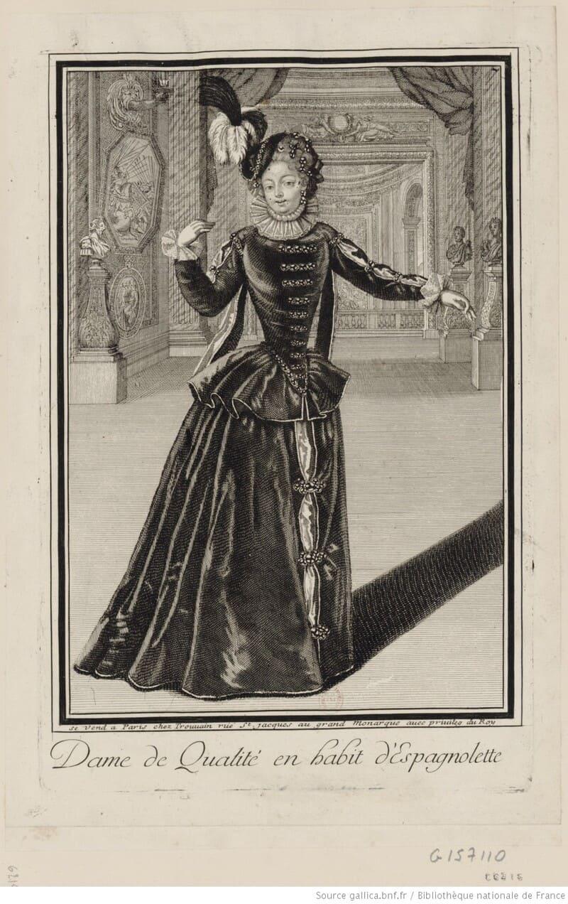 Trouvain, 'Dame de qualité en habit d'Espagnolette'. Danzas para dos reinas