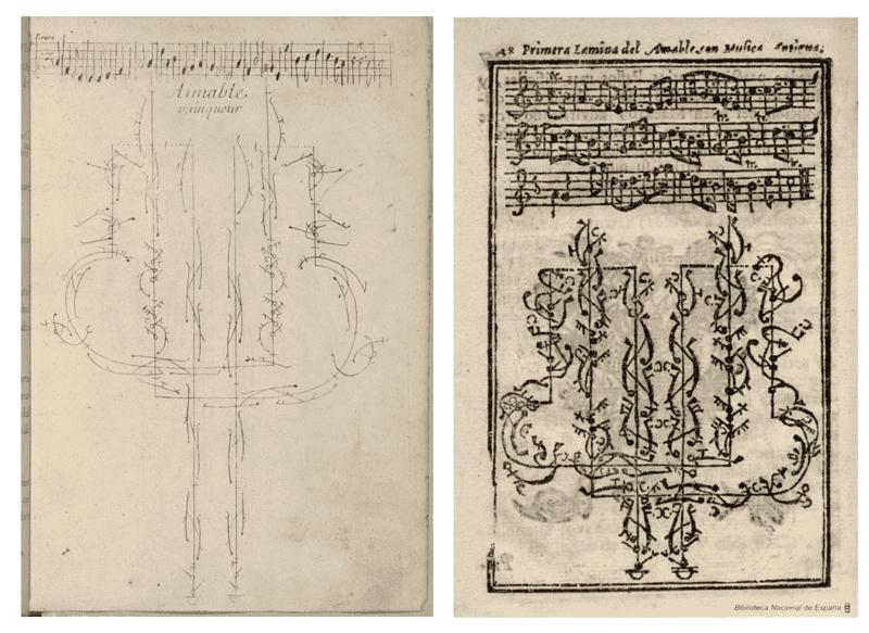 Pécour y Feuillet, 'Aimable Vainqueur' (París, 1701). Fuente: BnF; Pécour y Ferriol, 'Amable'(Nápoles, 1745). Fuente: Biblioteca Digital Hispánica