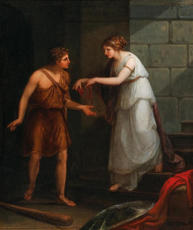 Ariadna le entrega una bola de hilo a Teseo, por Angelica Kauffmann